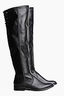 Кожаные черные ботфорты 2510-07