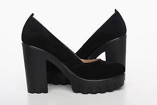 Замшевые туфли черного цвета на высоком каблуке, фото 2