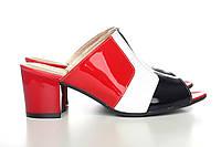 Лаковые красные сабо на невысоком каблуке 513-18