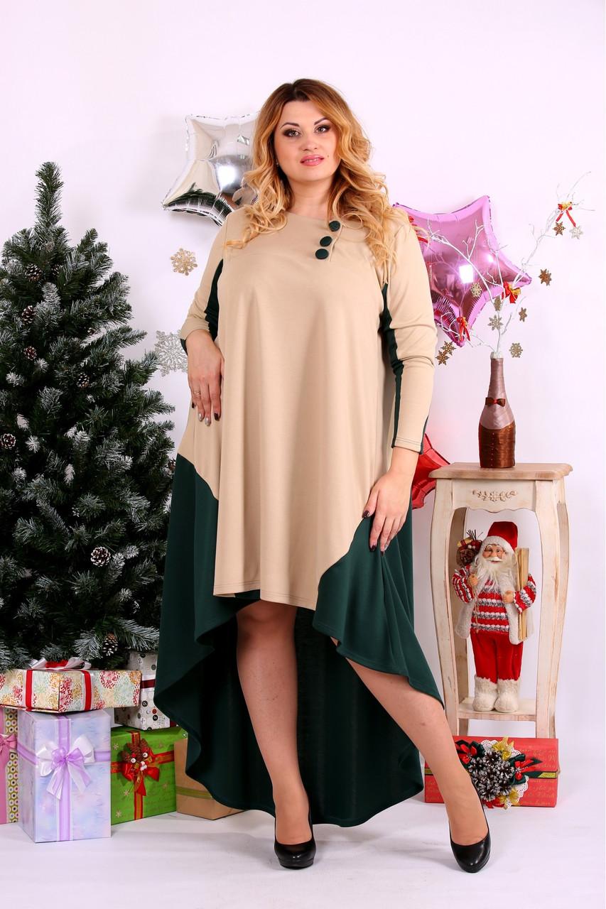 Женское просторное платье со шлейфом 0668 цвет зеленый+бежевый / размер 42-74 / баталл