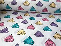 Хлопковая ткань разноцветные алмазы