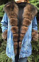 Джинсовая куртка с мехом песца, фото 1
