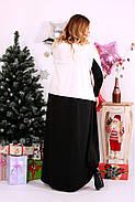 Женское просторное платье со шлейфом 0668 цвет черно-белый / размер 42-74 / баталл, фото 4
