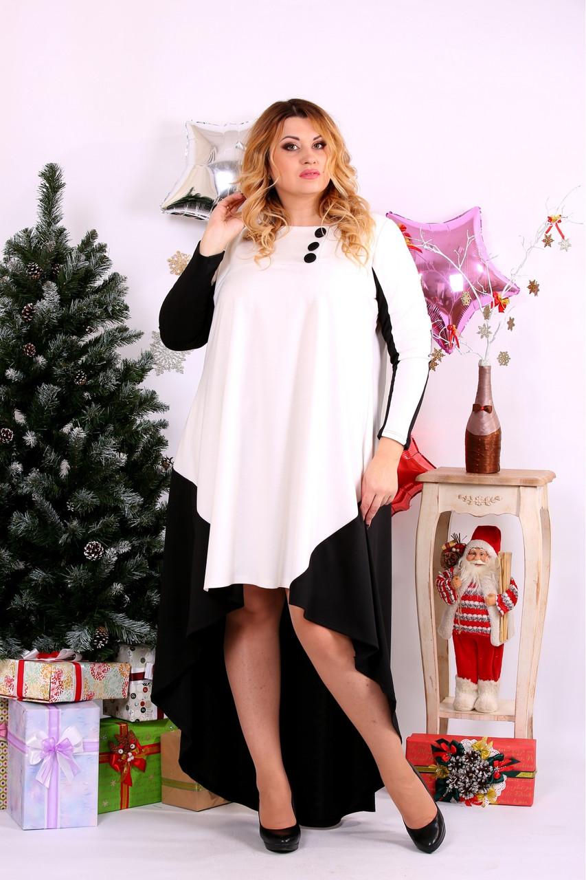 Женское просторное платье со шлейфом 0668 цвет черно-белый / размер 42-74 / баталл
