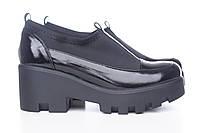 Кожаные черные туфли со стрейчем на платформе 3216-10