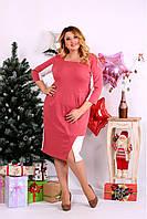 Женское платье миди рукав 3/4 0667 цвет фрезия / размер 42-74 / большой размер