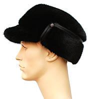 Мужская меховая шапка из норки,Конфедератка (чёрная)