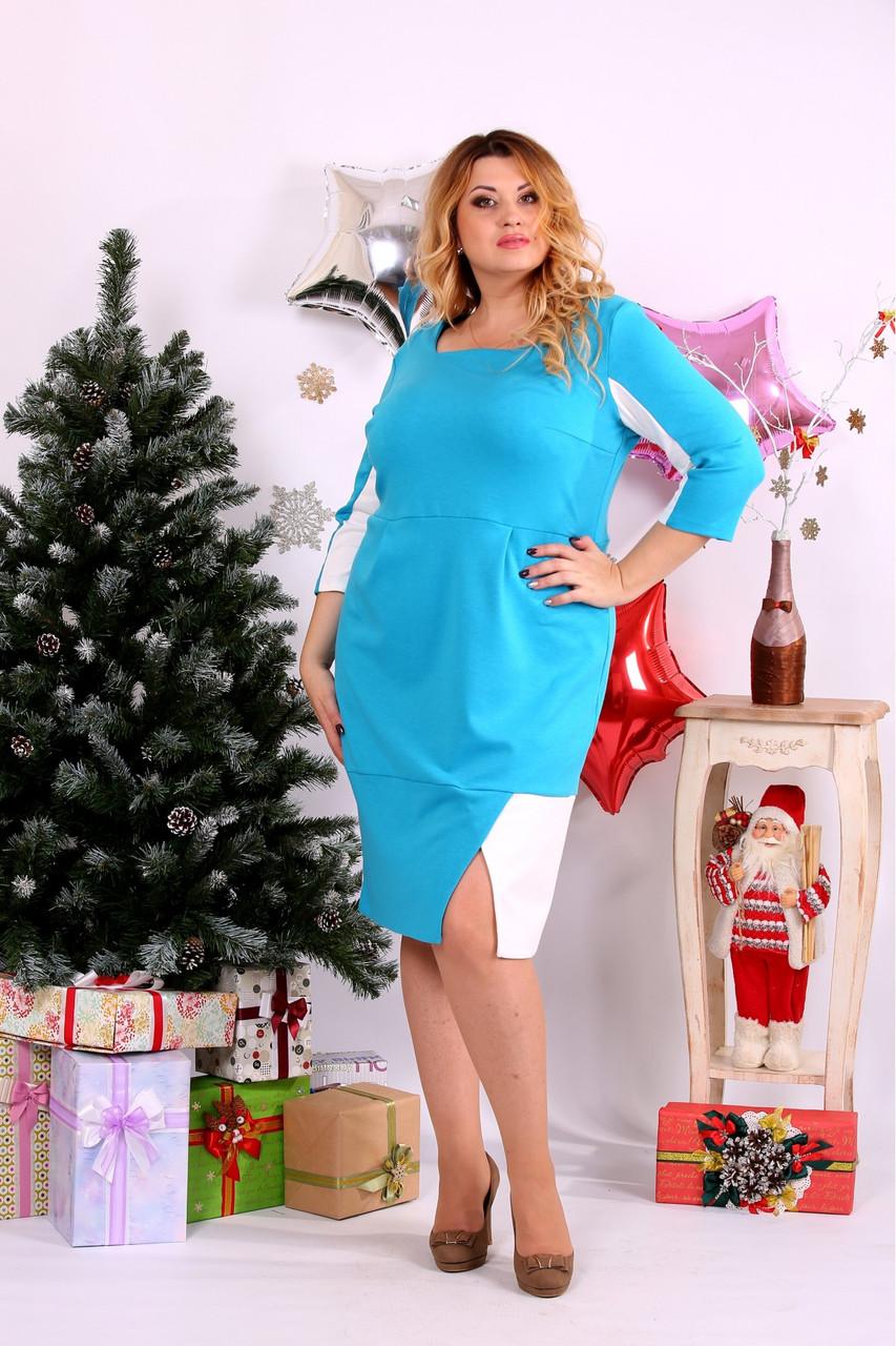 Женское платье миди рукав 3/4 0667 цвет голубой / размер 42-74 / большой размер