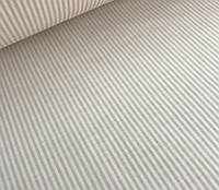 Ткань польский хлопок светло-бежевые полоски 2 мм