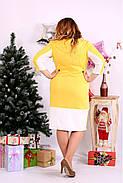 Женское платье миди рукав 3/4 0667 цвет желтый / размер 42-74 / большой размер , фото 4