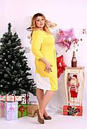 Женское платье миди рукав 3/4 0667 цвет желтый / размер 42-74 / большой размер , фото 2