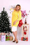 Женское платье миди рукав 3/4 0667 цвет желтый / размер 42-74 / большой размер , фото 3