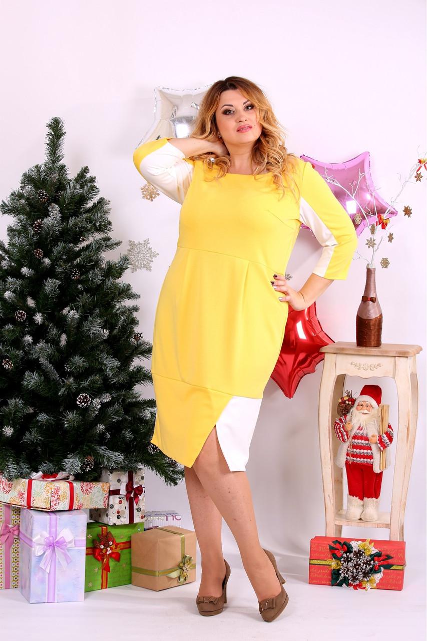 Женское платье миди рукав 3/4 0667 цвет желтый / размер 42-74 / большой размер