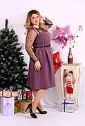 Женское шикарное платье для праздника 0665 цвет бисквит / размер 42-74 / большой размер , фото 2