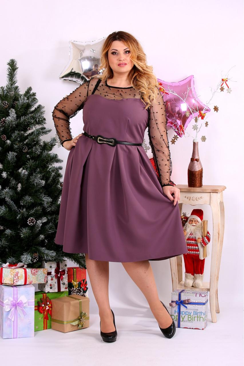Женское шикарное платье для праздника 0665 цвет бисквит / размер 42-74 / большой размер