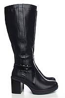 Кожаные сапоги черного цвета с мехом европейка на среднем каблуке оптом