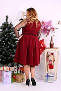 Женское шикарное платье для праздника 0665 цвет бордо / размер 42-74 / большой размер , фото 4