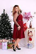 Женское шикарное платье для праздника 0665 цвет бордо / размер 42-74 / большой размер , фото 2