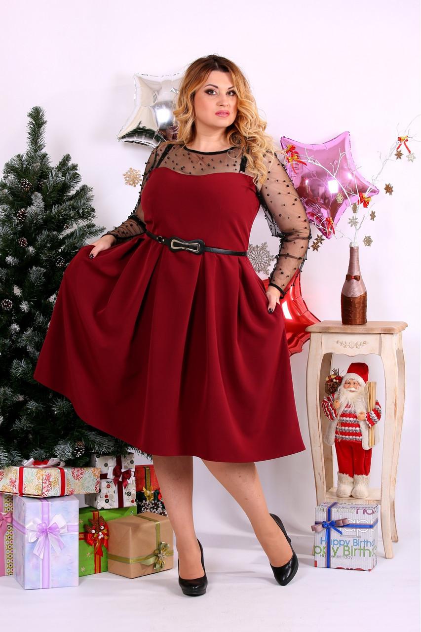 Женское шикарное платье для праздника 0665 цвет бордо / размер 42-74 / большой размер
