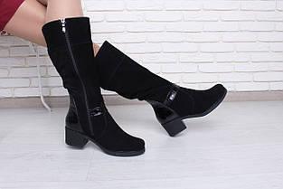 Замшевые черные сапоги на невысоком каблуке оптом, фото 2