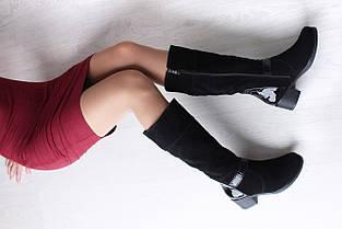 Замшевые черные сапоги на невысоком каблуке оптом, фото 3