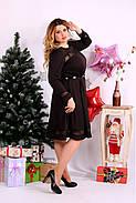 Женское платье до колена нарядное 0664 цвет шоколад / размер 42-74 / большой размер , фото 2