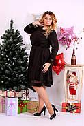 Женское платье до колена нарядное 0664 цвет шоколад / размер 42-74 / большой размер , фото 3