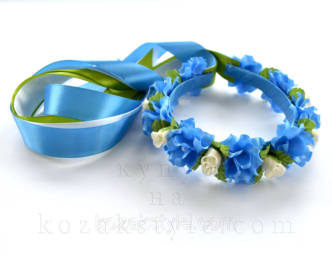 """Віночок """"Троянди білі та блакитні"""""""