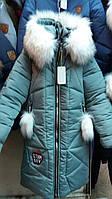 Курточка для девочки на овчине с опушком