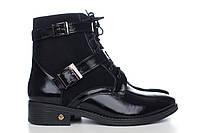 Лаковые зимние ботинки классические с замшей 2510-10