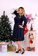 Женское платье до колена нарядное 0664 цвет синий / размер 42-74 / большой размер , фото 3