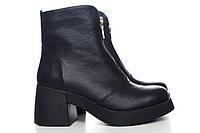 Черные кожаные ботинки на большом каблуке оптом