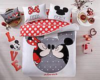 Комплект постельного белья турецкое tac ранфорс евро размер Mickey-Minnie-Love-Is