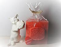 Арома свеча подарок ЭКО с ароматом Земляники 350гр (7х7хН=8см)