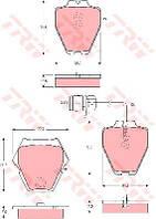 Колодка тормозная AUDI A6 (4B, C5), A8 (4D2, 4D8, 4E_) передний (производитель TRW) GDB1371