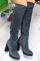 Демисезонные или Зимние  натуральные замшевые сапоги ботфорты на каблуке цвет тёмно серый