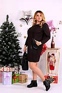 Женское прямое платье выше колена 0663 цвет шоколад / размер 42-74 / большой размер , фото 2