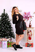 Женское прямое платье выше колена 0663 цвет шоколад / размер 42-74 / большой размер , фото 3