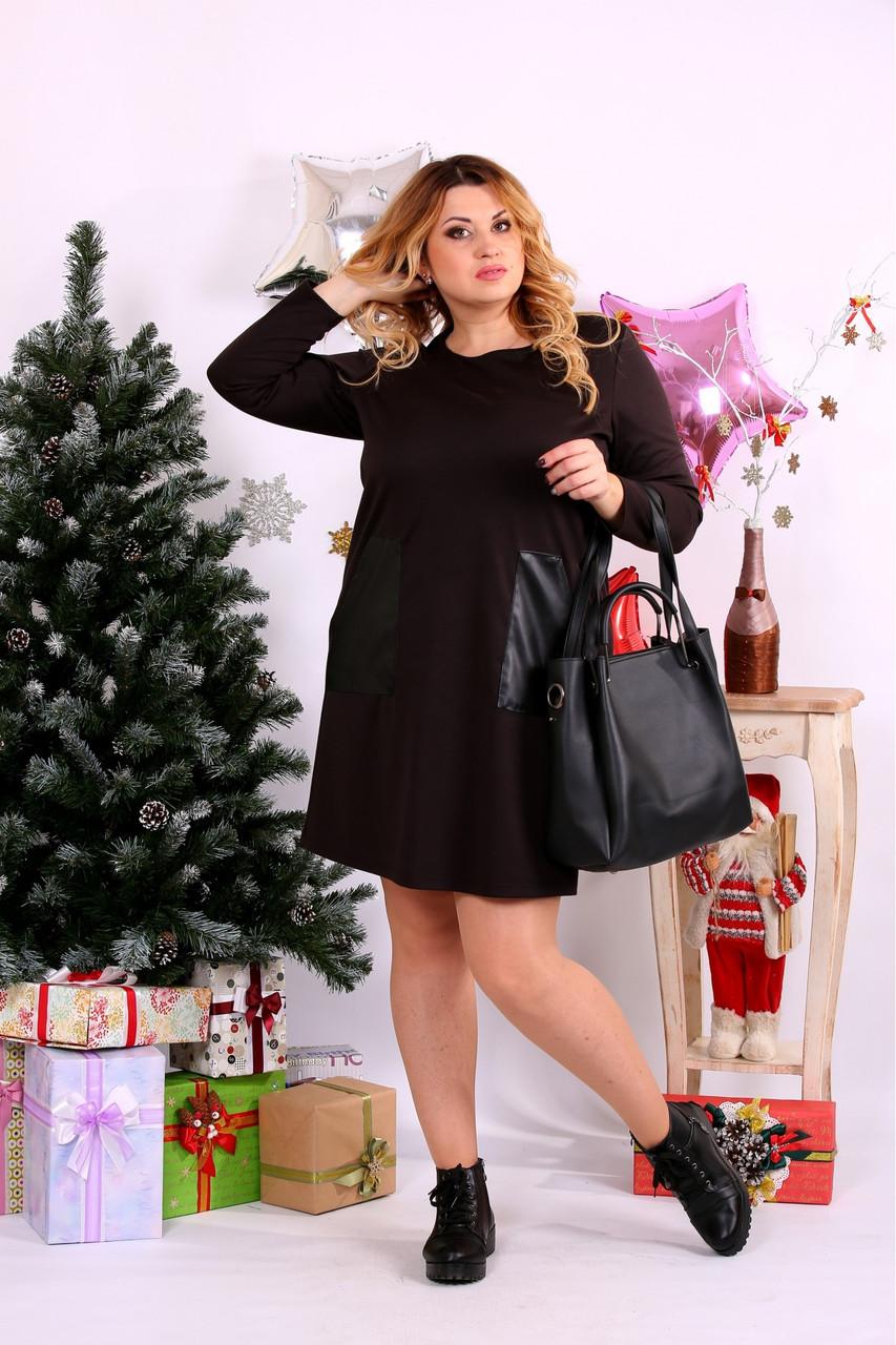 Женское прямое платье выше колена 0663 цвет шоколад / размер 42-74 / большой размер