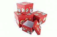 Подарочные коробки Новогодние красные со снеговиками, 4 шт