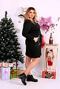 Женское платье до колена нарядное 0664 цвет черный / размер 42-74 / большой размер , фото 2