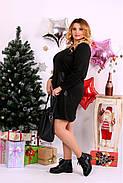 Женское платье до колена нарядное 0664 цвет черный / размер 42-74 / большой размер , фото 3