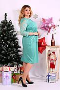 Женское нарядное платье большого размера 0662 цвет бирюза / размер 42-74 , фото 2