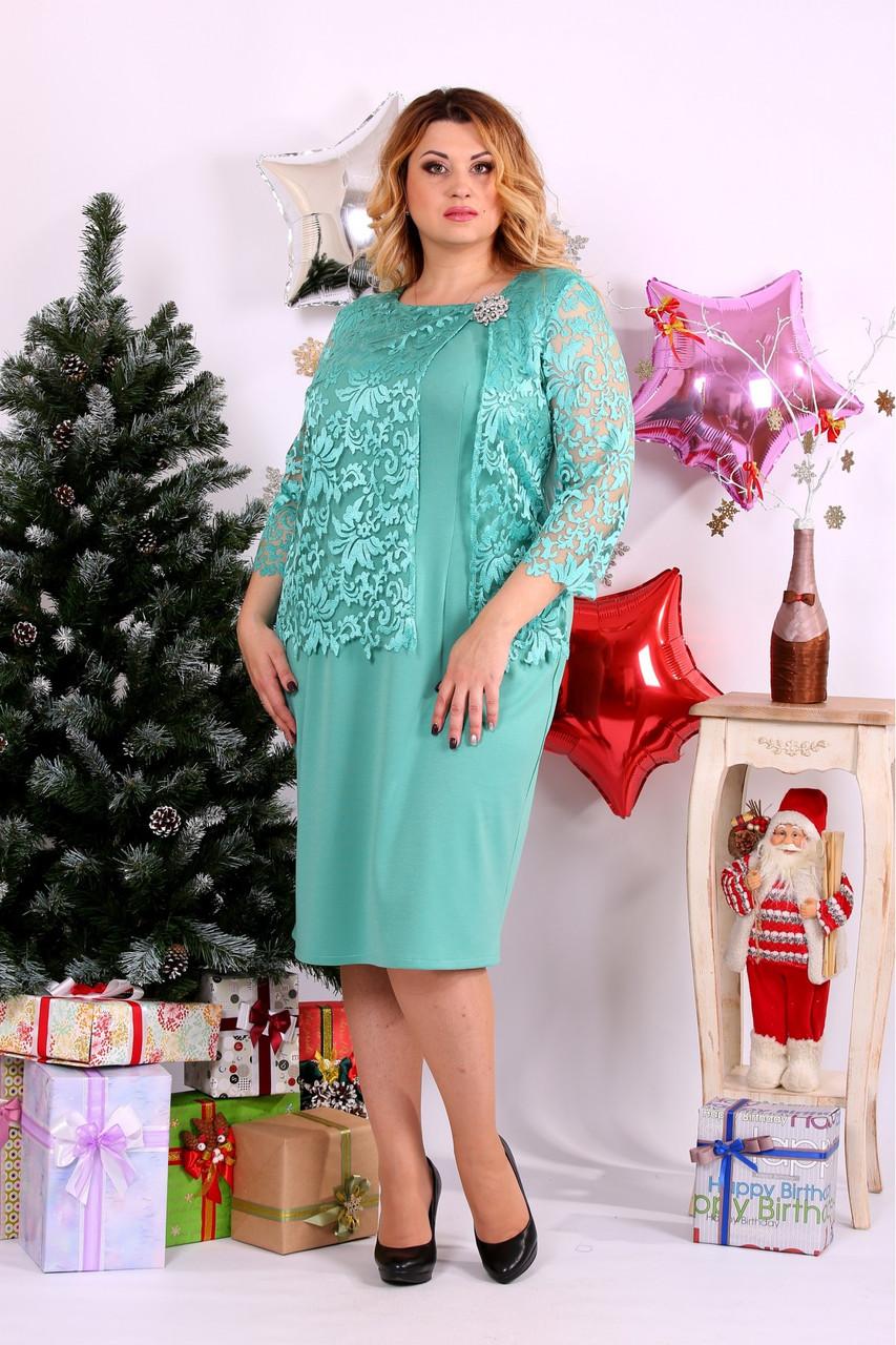 Женское нарядное платье большого размера 0662 цвет бирюза / размер 42-74