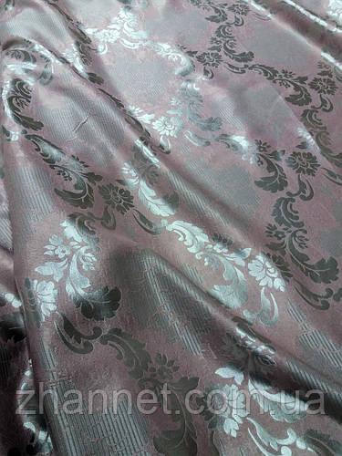 Ткань для штор жаккард Dim Out клевер/серый