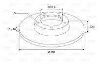 Диск тормозной передний HYUNDAI SANTA FE 15INCH (производитель VALEO PHC) R1020, фото 1