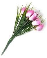 Тюльпаны искусственные, розовые букет (25 см)