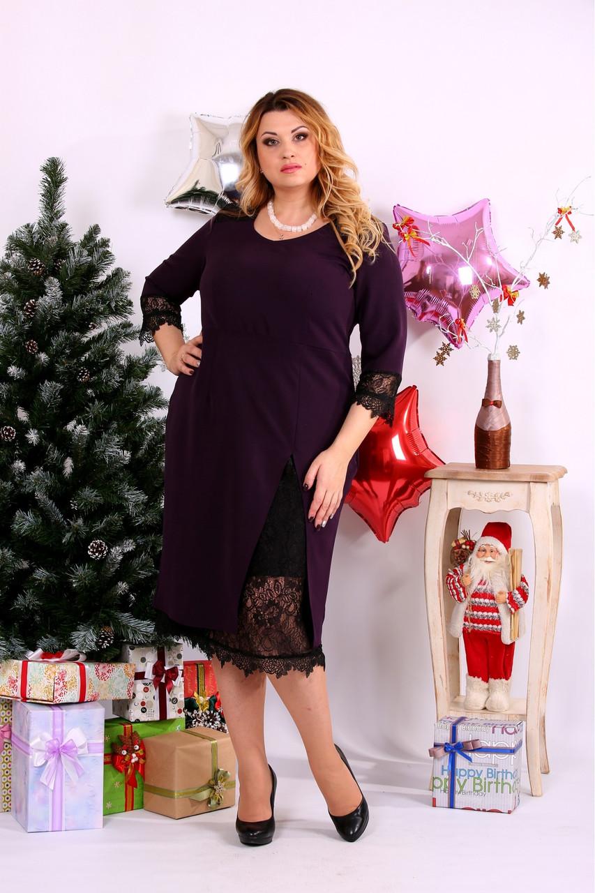 Женское платье с вырезом внизу 0660 цвет баклажан / размер 42-74 / большой размер