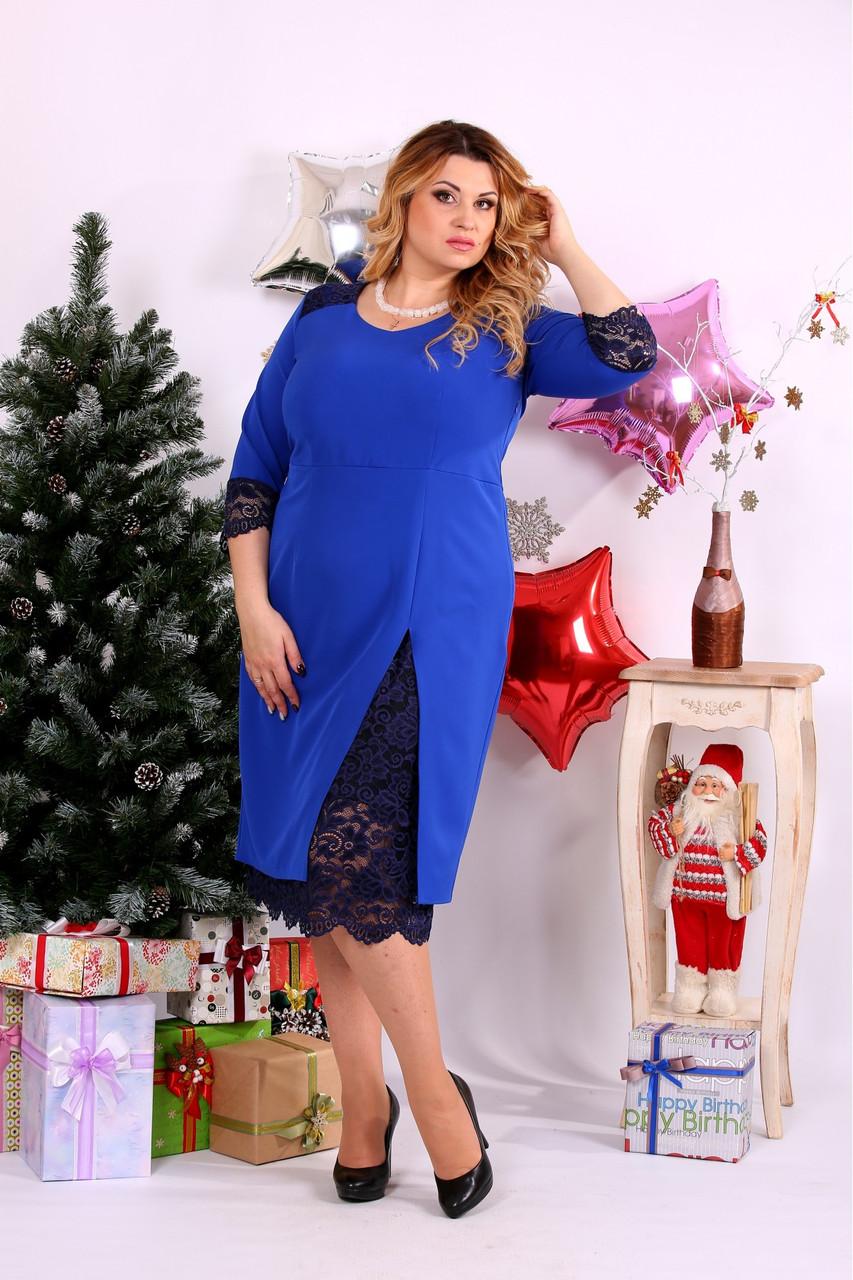 Женское платье с вырезом внизу 0660 цвет электрик / размер 42-74 / большой размер