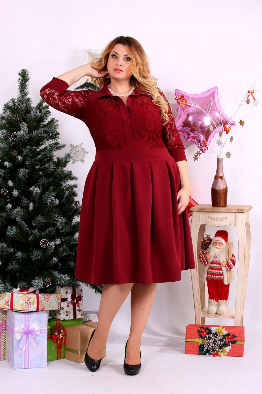 Женское платье с пышной юбкой  0659 цвет красный / размер 42-74 / большой размер